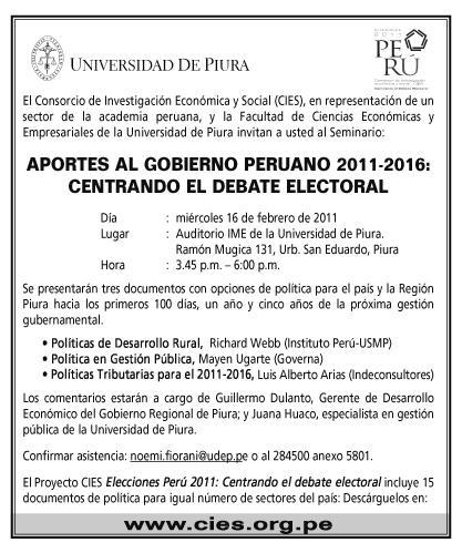 APORTES AL GOBIERNO PERUANO 2011-2016: CENTRANDO EL DEBATE ELECTORAL