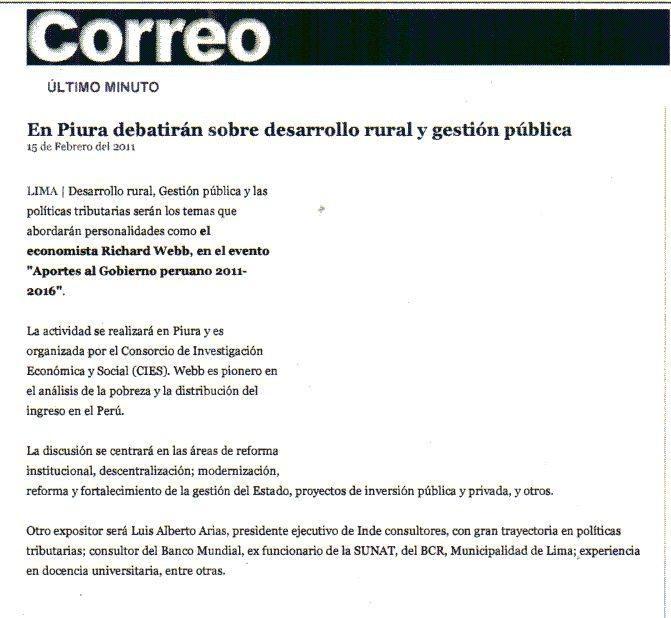 Regional - EN PIURA DEBATIRÁN SOBRE DESARROLLO RURAL Y GESTIÓN PÚBLICA