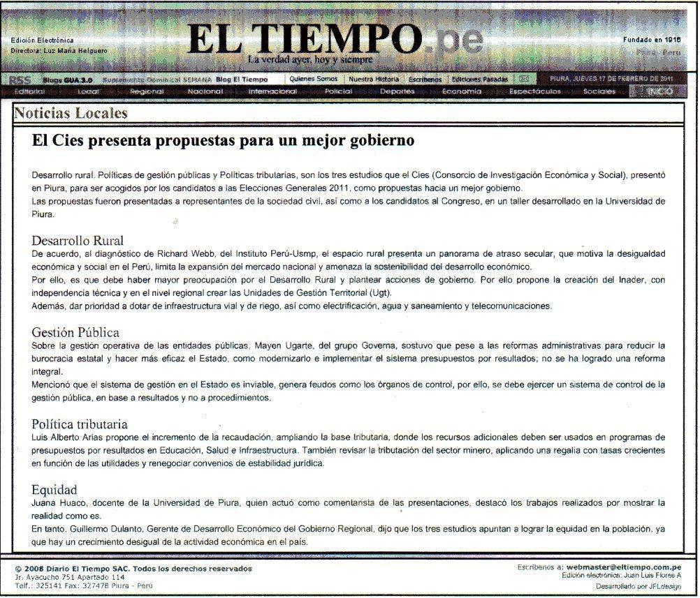 EL CIES PRESENTA PROPUESTAS PARA UN MEJOR GOBIERNO