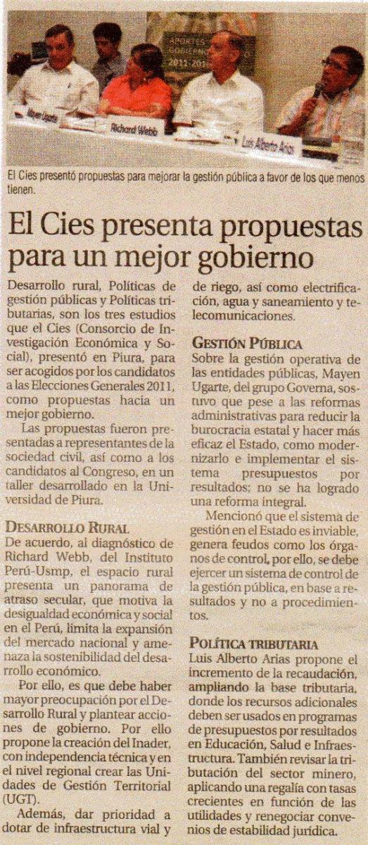 Regional - EL CIES PRESENTA PROPUESTAS PARA UN MEJOR GOBIERNO
