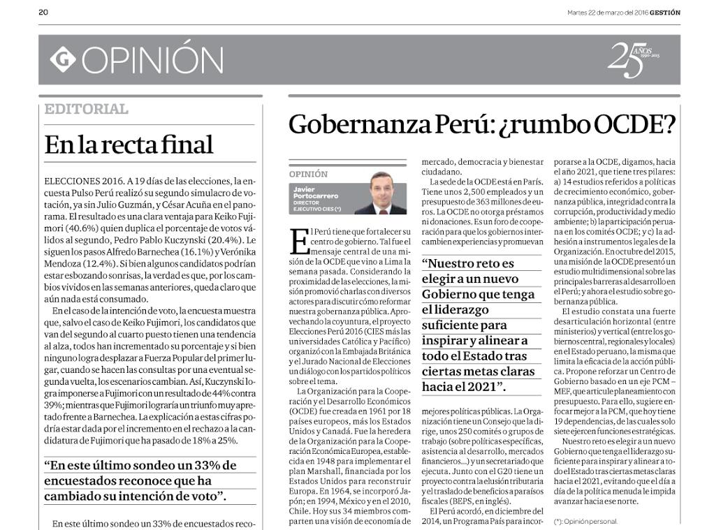 Gobernanza Perú: ¿rumbo OCDE?