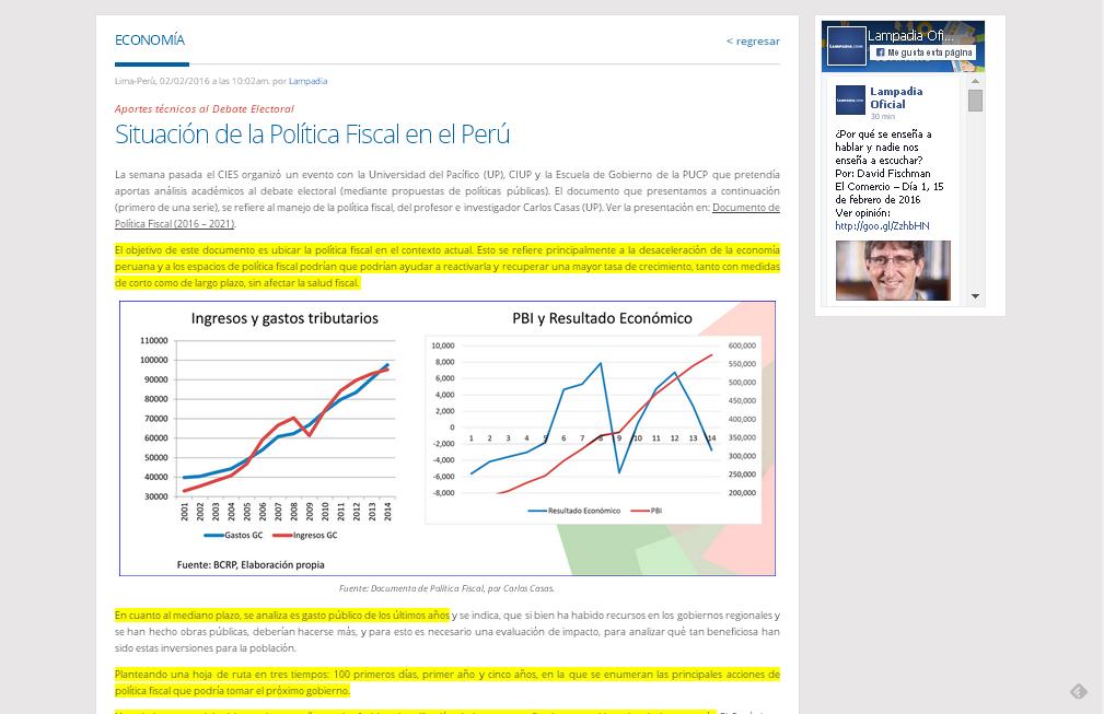 Situación de la política fiscal en el Perú