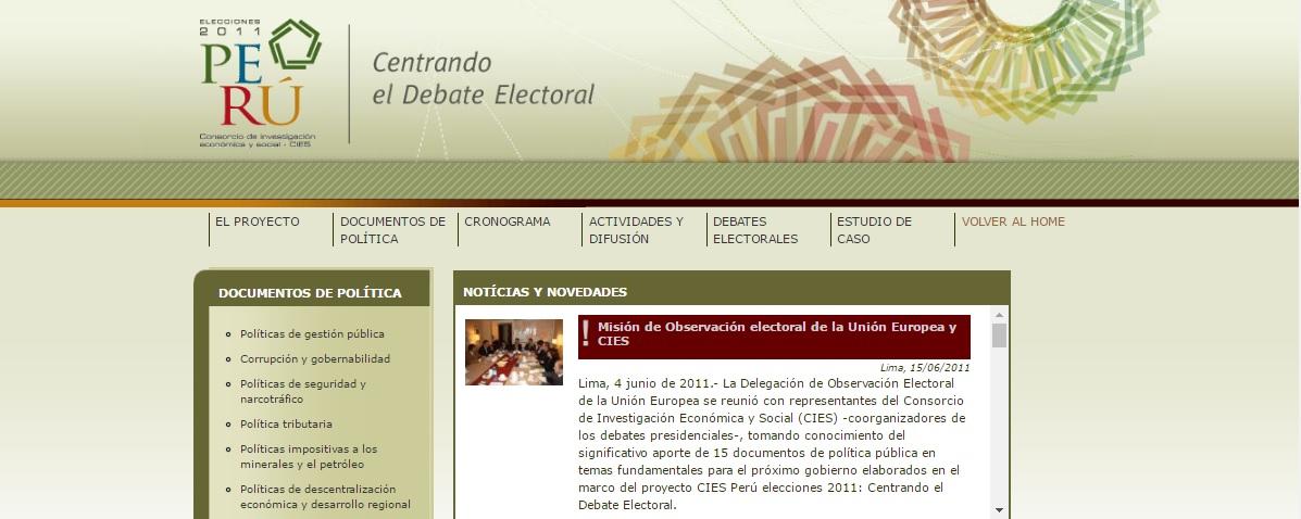 """Lanzamiento de la web """"Elecciones Perú 2011: centrando el debate electoral"""""""
